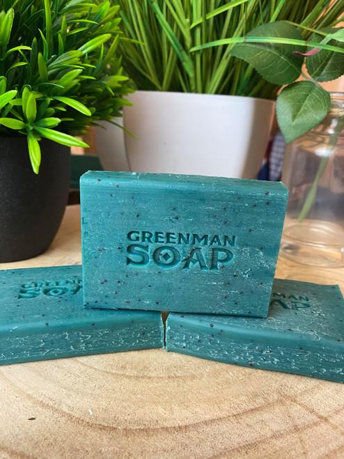 Handcrafted Greenman Exfoliating Lemon & Basil Soap