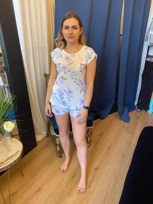 Rose Bloom Lilac Short Pyjama Set