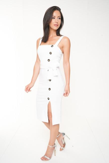 Olivia White Button Midi Dress