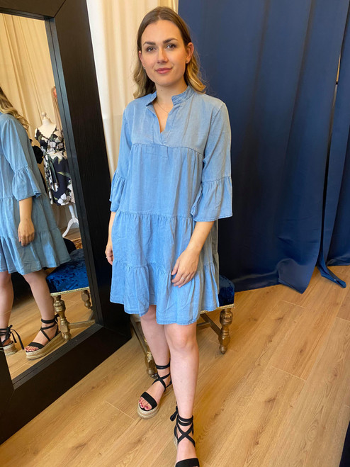 Double It Up Blue Denim Tiered Smock Dress