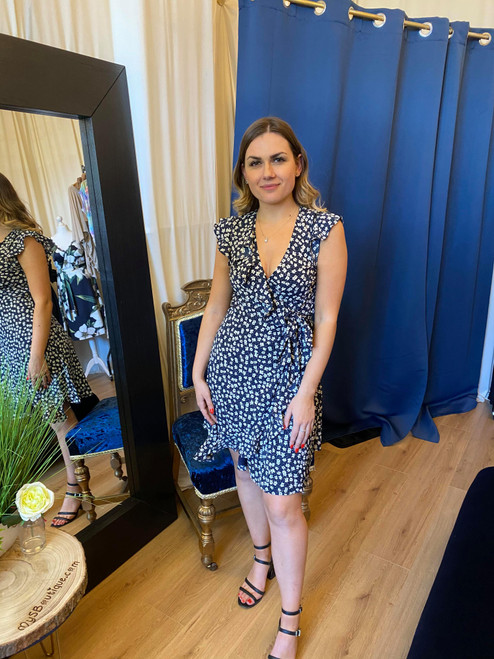 Blooming Lovely Navy Floral Print Wrap Dress