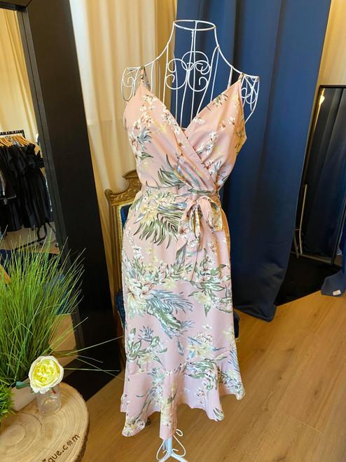 It's a Date Pink Floral Cami Strap Asymmetric Midi Dress