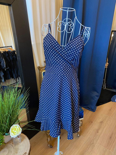 Dotty For You Navy Pola Dot Ruffle Hem Cami Dress