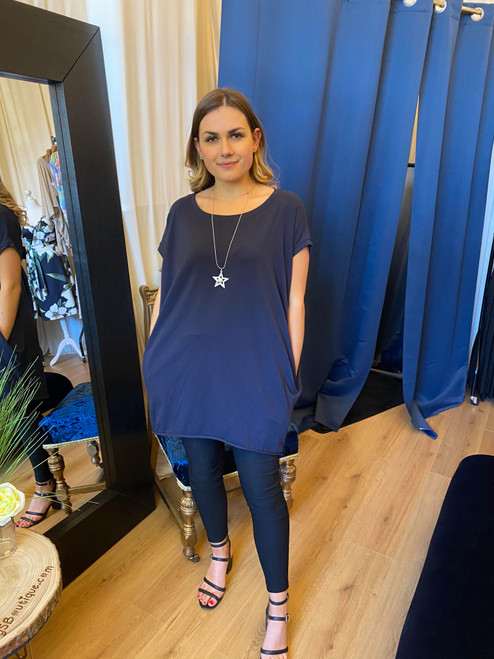 A Star is Born Navy Oversize Top & Necklace