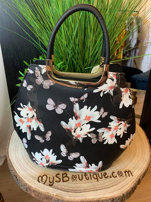 Blossoming Beauty Black Floral Bowler Bag