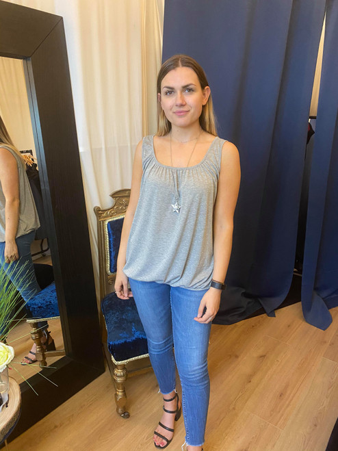A Star is Born  Bubble Hem Light Grey Vest Top With Necklace