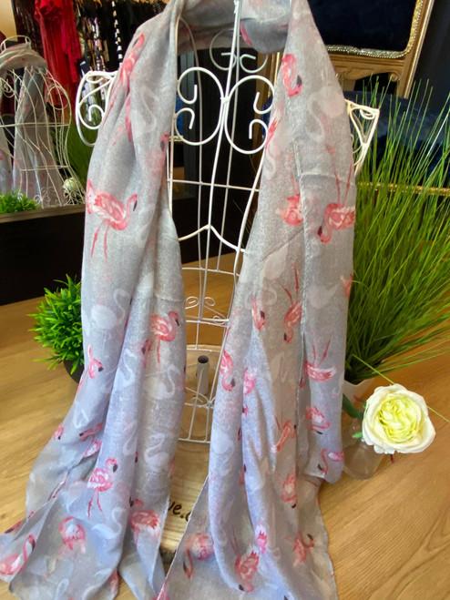 Catherine Lansfield grey flamingo print scarf