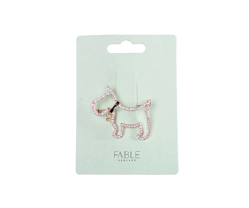 Scottie Dog Rose Gold Diamante Brooch