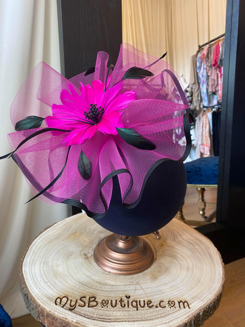Elegant Cerise and Black Large Floral Feather Fascinator