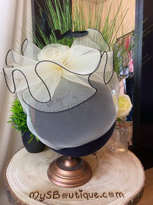 Monochrome Floral Veil Feather Fascinator