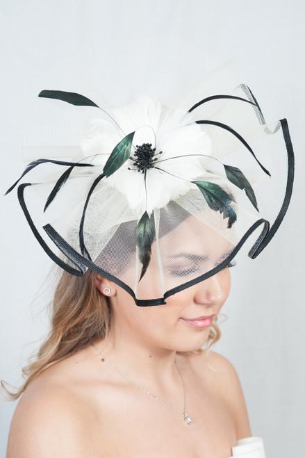 Elegant Oversize Monochrome Black & Cream Large Feather Fascinator