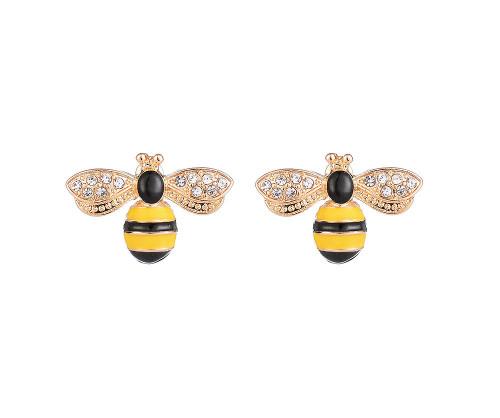 Bee Perfect Gold Diamante & Enamel Stud Earrings
