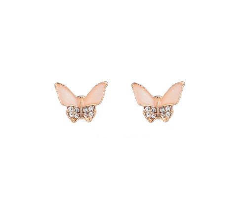 Flutter Effect Pink Diamante Butterfly Earrings
