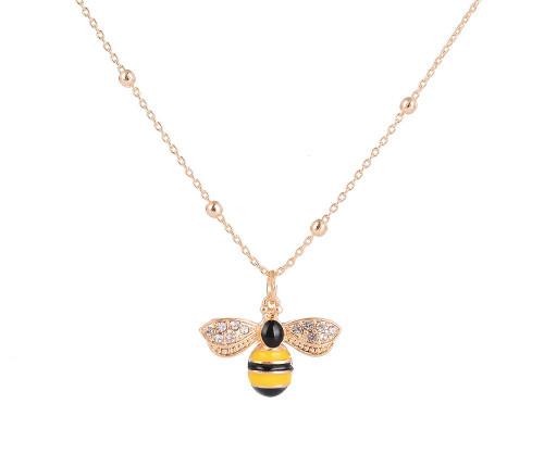 Bee Perfect Gold Diamante & Enamel Short Necklace