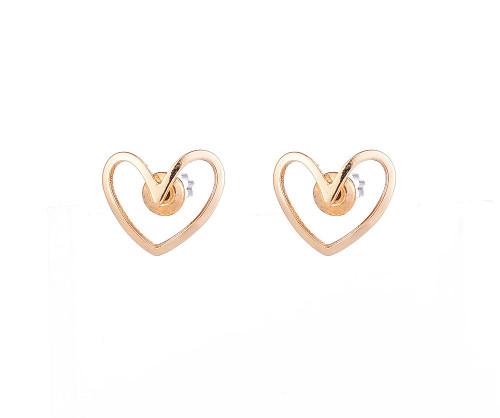 Eternal Gold Heart Shaped Stud Earrings
