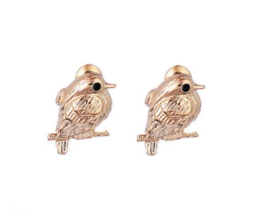 Delicate Bird on Branch Gold Stud Earrings