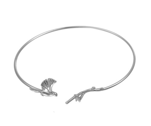 Silver Bird & Branch Delicate Bangle