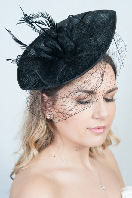 Black Oval Sinamay Feather Quill Veil Hatinator