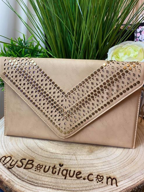 Scarlett Tan Studded Clutch Bag