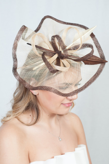 Gold & Brown Arrowhead Quill Sinamay Fascinator
