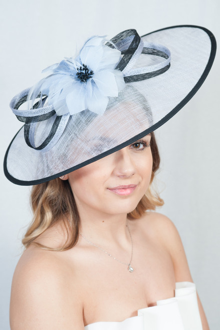 The Extravagance Pale Blue & Black Extra Large Sinamay Anatra Bloom Fascinator