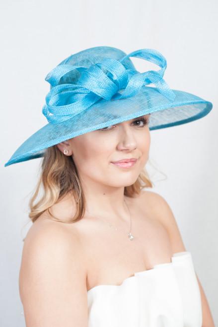 Azure Oversize Blue Sinamay Bow Hat