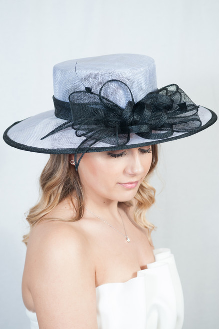 Macey Oversize Sinamay Bow Detail Feather Hat