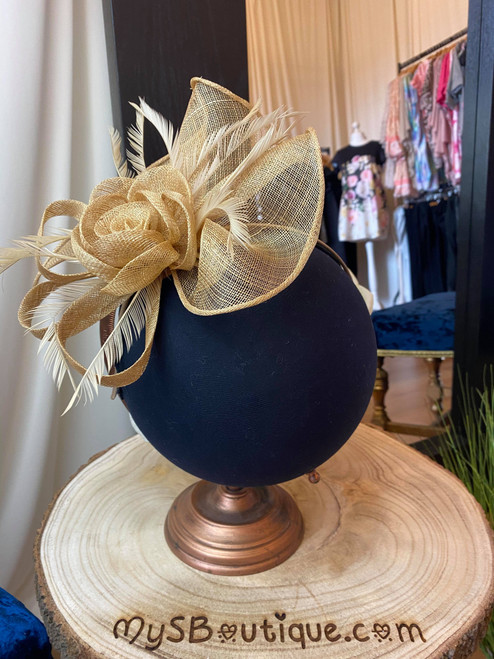 Opulence Gold Sinamay Floral Feather Fascinator