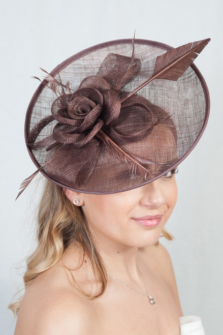 Oversized Brown Oval Peony Feather Quill Sinamay Hat Fascinator