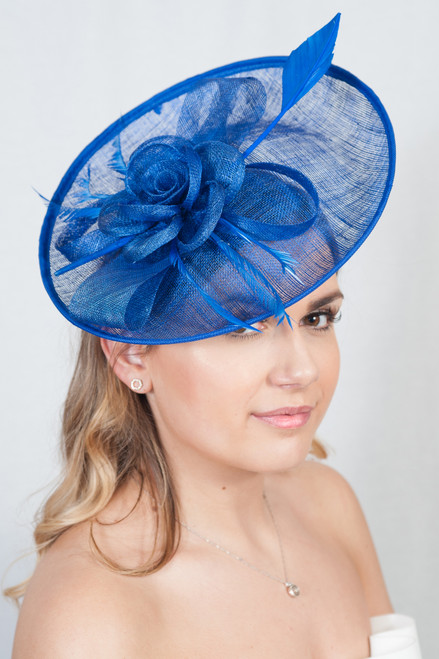 Oversized Royal Blue Oval Peony Feather Quill Sinamay Hat Fascinator