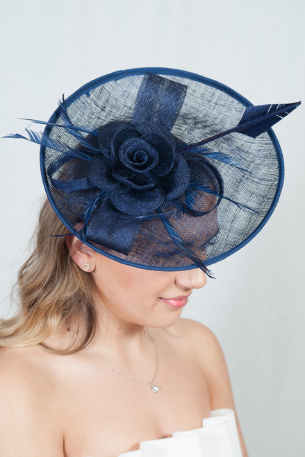 Oversized Navy Oval Peony Feather Quill Sinamay Hat Fascinator