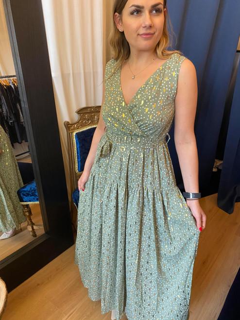 Timeless Beauty Sage Green Polka Dot  Metallic Print Maxi Dress