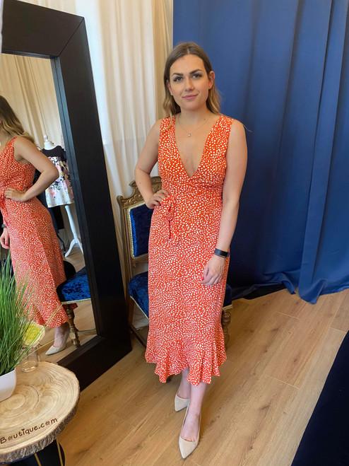Spoil Me Vibrant Orange Asymmetrical Midi Dress