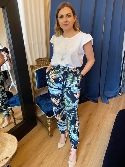 Aloha Navy Tropical Palm Print Cuff Leg Trousers