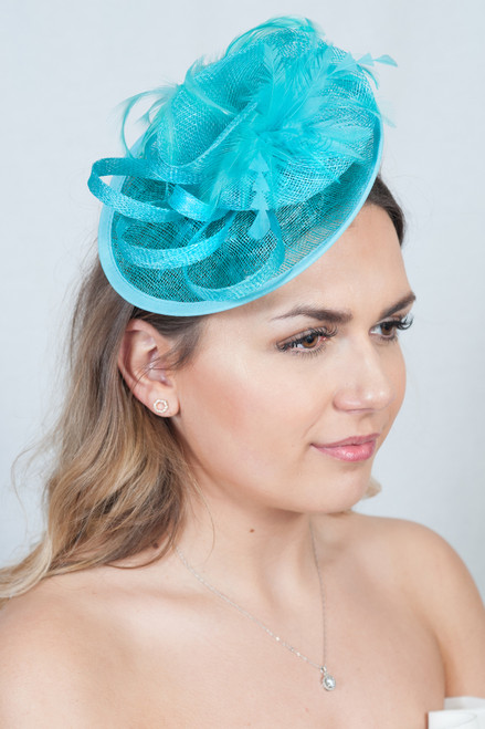 Teal Sinamay Disc Feather Fascinator