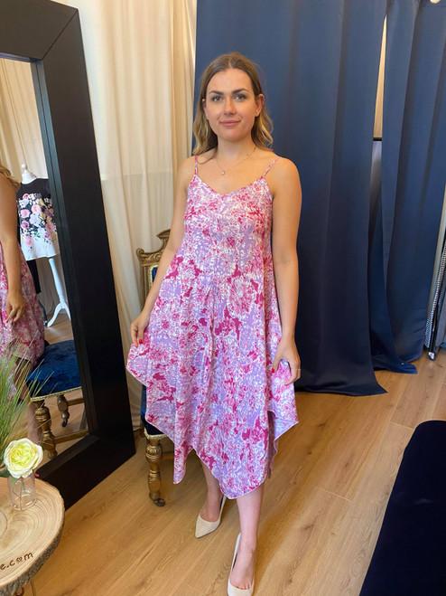 Summer Stunner Tie Dye Blush Pink Hanky Hem Dress