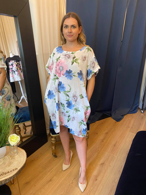 Floral Feels White Floral Dipped Hem Dress With Pockets
