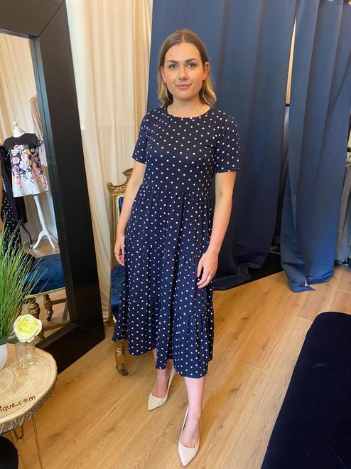 Polka Dot Round Neck Tiered Midi Smock Dress
