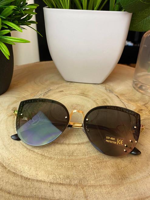 Black & Gold Geometric Cat-Eye Sunglasses