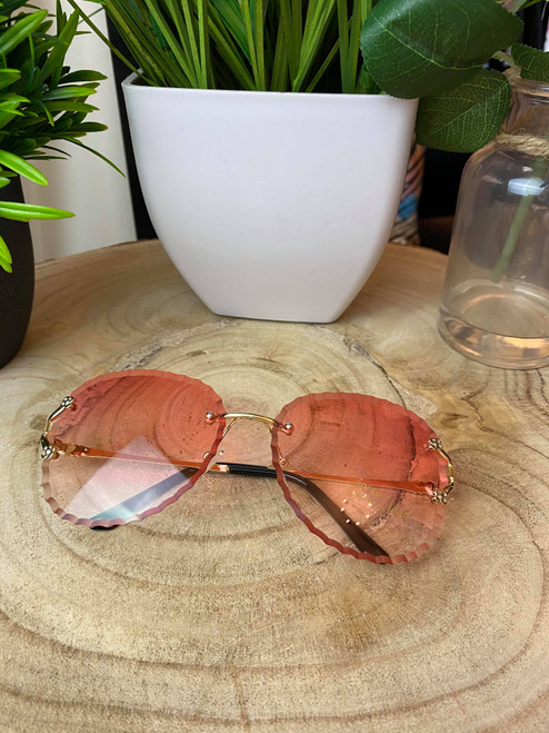 Pink Wave Rounded Sunglasses
