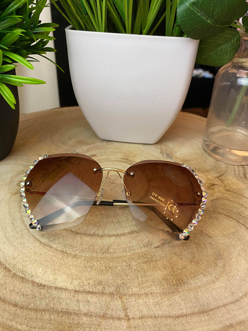 Diamante Rimless Brown Rounded Sunglasses