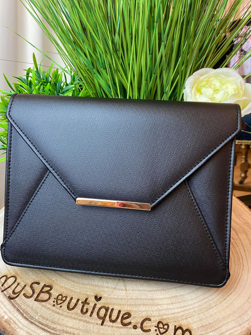 Black Envelope Chain Strap Oversize Clutch Bag