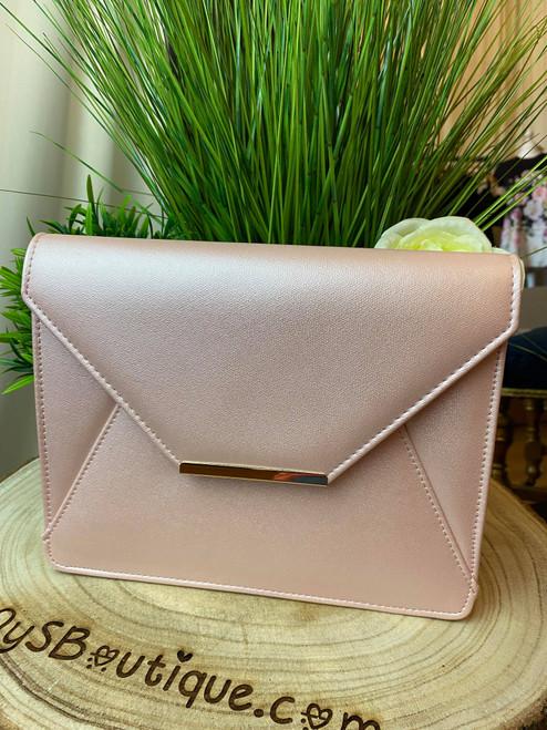 Iridescent Pink  Envelope Chain Strap Oversize Clutch Bag