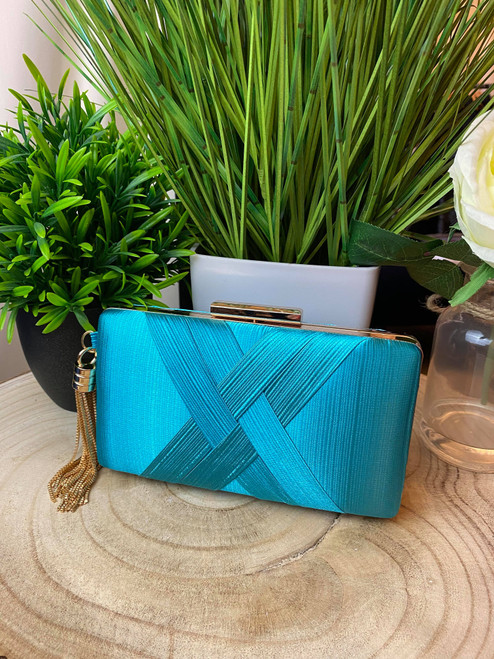 Turquoise Chain Detail Occasion Clutch Bag