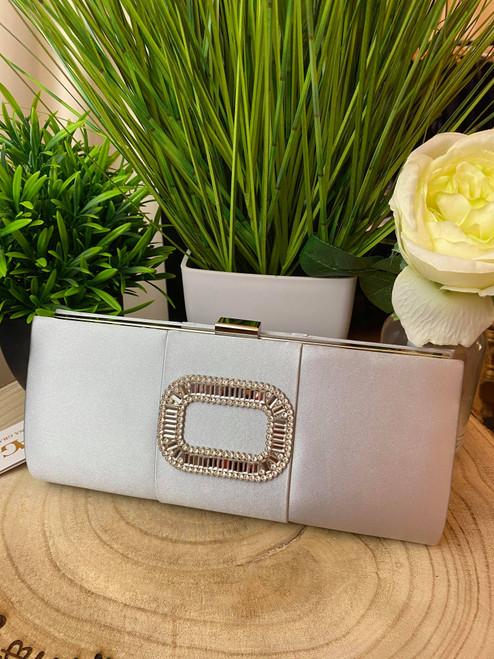 Silver & Grey Diamante Occasion Clutch Bag