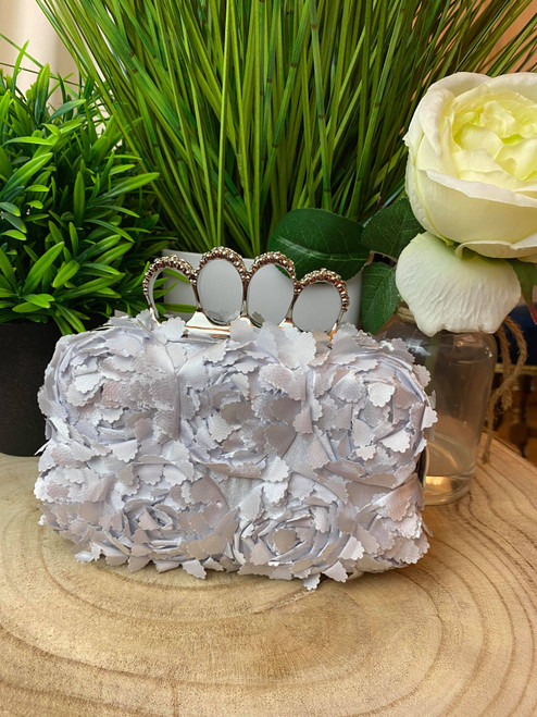 Light Grey & Silver Peony Detail Floral Occasion Clutch Bag