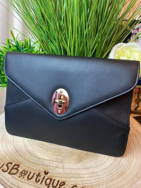 Serena Luxe Collection Black Oversize Envelope Clutch Bag