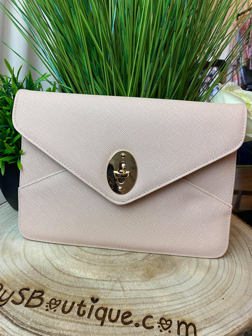 Serena Luxe Collection Nude Envelope Clutch Bag
