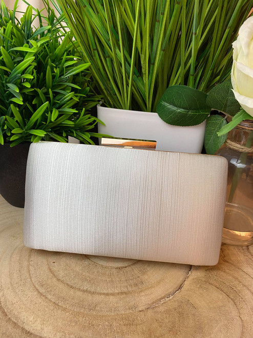 Ivory Satin Pleated Occasion Clutch Bag