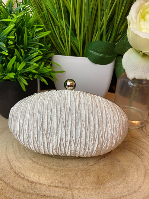 Ivory & Silver Oval Ruched Clutch Bag